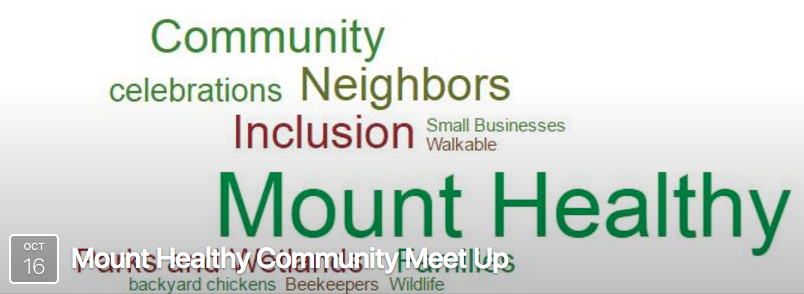 Mt Healthy Community Meet Up , Sunday, October 16th